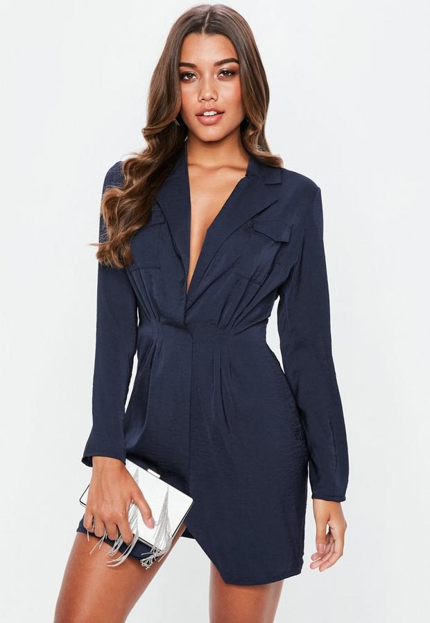 Product photo of Navy satin pocket detail collar shift dress blue