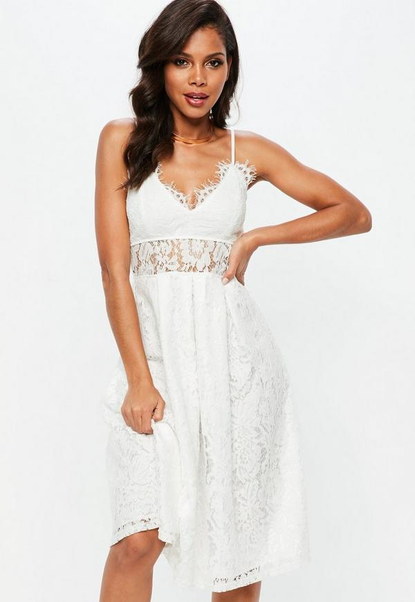 White Lace Strappy Midi Skater Dress | Missguided