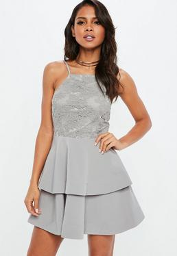 Grey 90s Neck Lace Frill Skater Dress