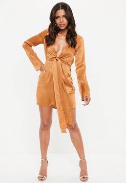 Rust Satin Plunge Tie Front Shift Dress