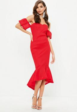 Red Bonded Fishnet Bardot Midi Dress