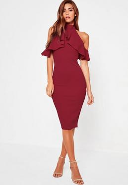 burgundy frill cold shoulder midi dress