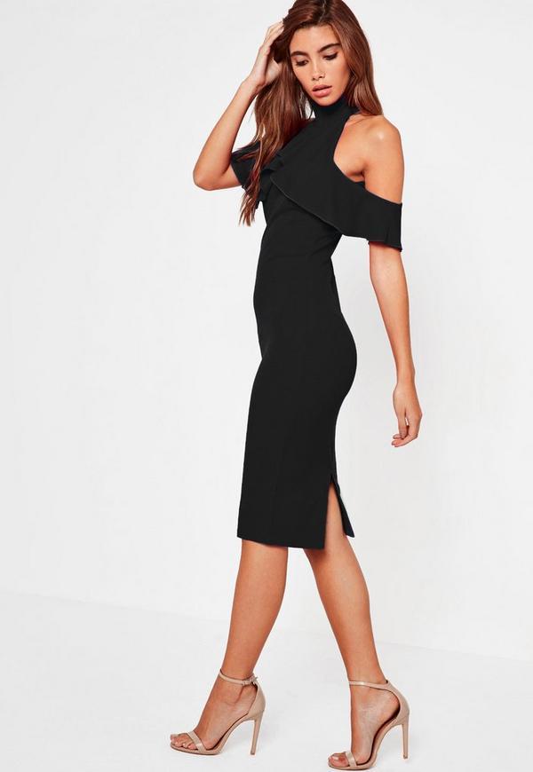 Black Frill Cold Shoulder Midi Dress Missguided