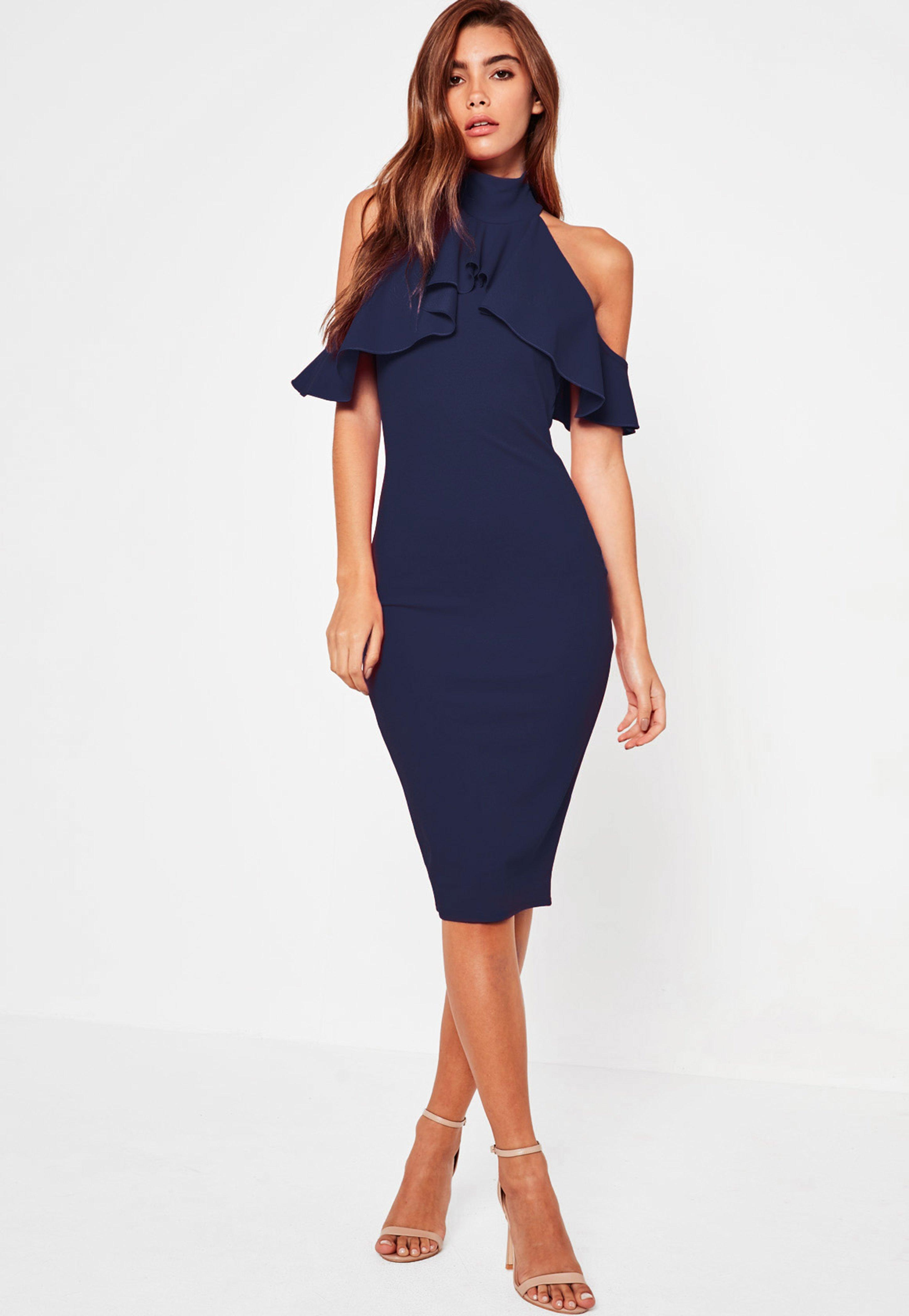 83aa88c51afa Navy Frill Cold Shoulder Bodycon Midi Dress | Missguided