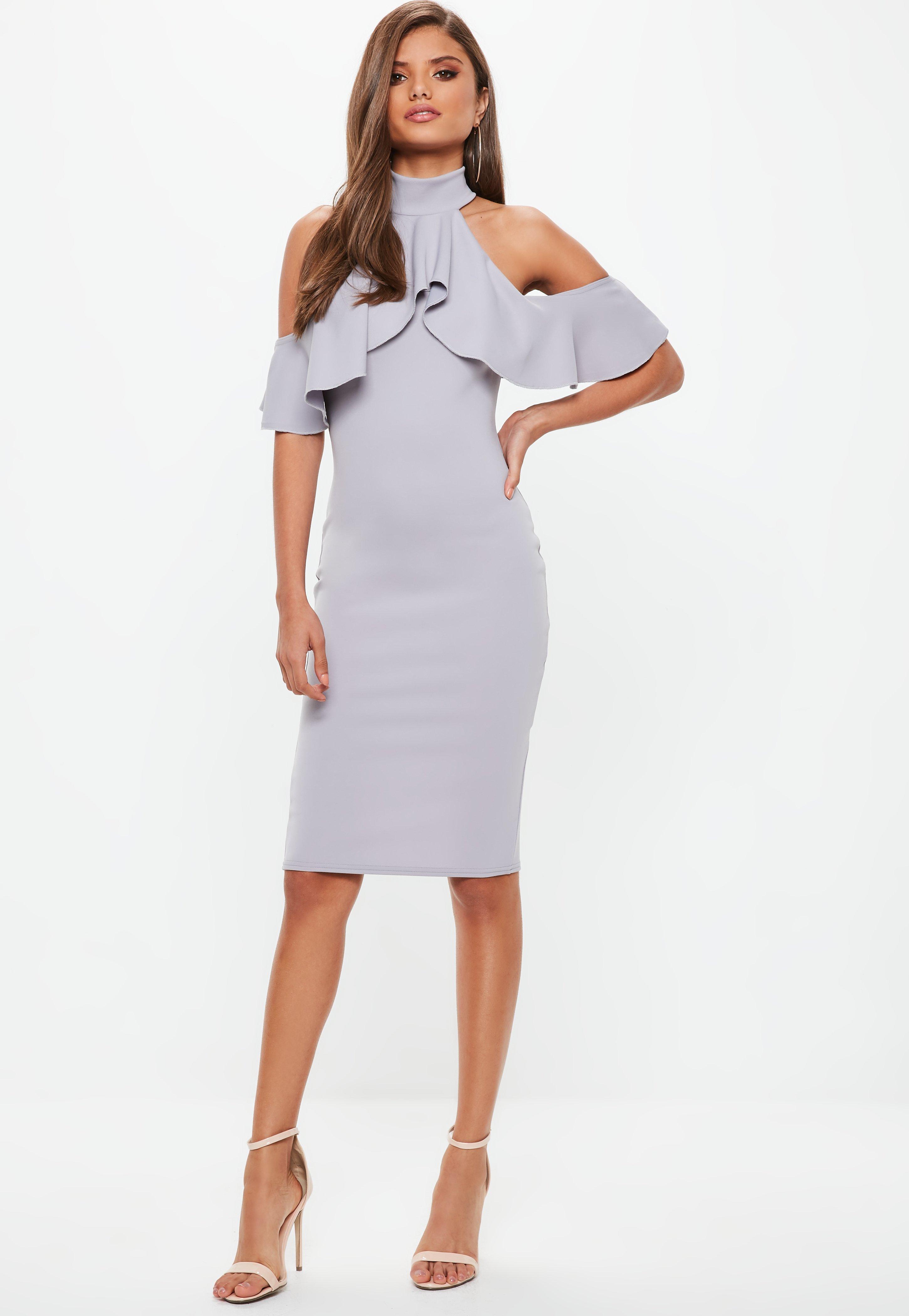 Gray High Neck Frill Cold Shoulder Midi Dress  bb2b062df07f