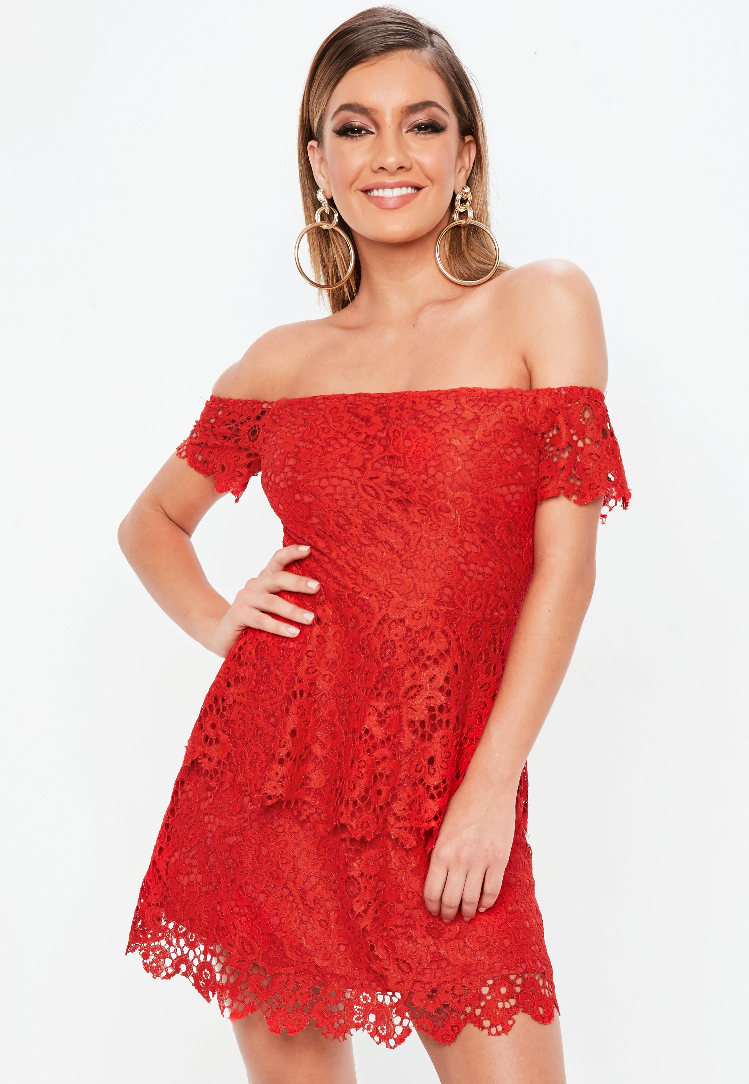 0ad02f6fdf35 Red Lace Bardot Double Layer Skater Dress | Missguided Australia