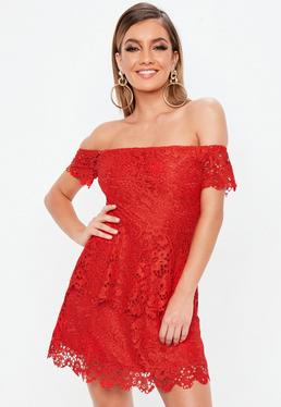 Red Lace Bardot Double Layer Skater Dress