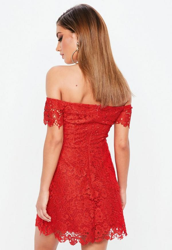 4972abfc9850 Red Lace Bardot Double Layer Skater Dress. Was $70.00. Now $48.00 (31%  off). Previous Next