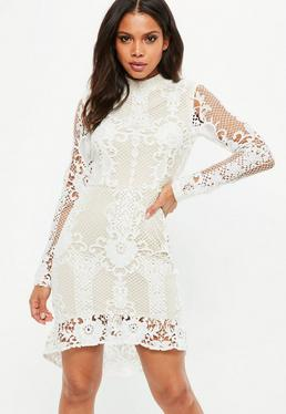Floral dresses flower print dresses missguided nude lace flippy hem flare sleeve bodycon dress mightylinksfo