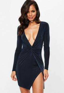 Navy Slinky Plunge Front Bodycon Dress