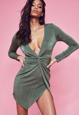 Green Slinky Long Sleeve Plunge Bodycon Dress