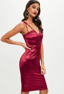 Burgundy Satin Strap Detail Midi Dress