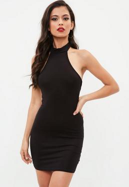Czarna dopasowana sukienka halter