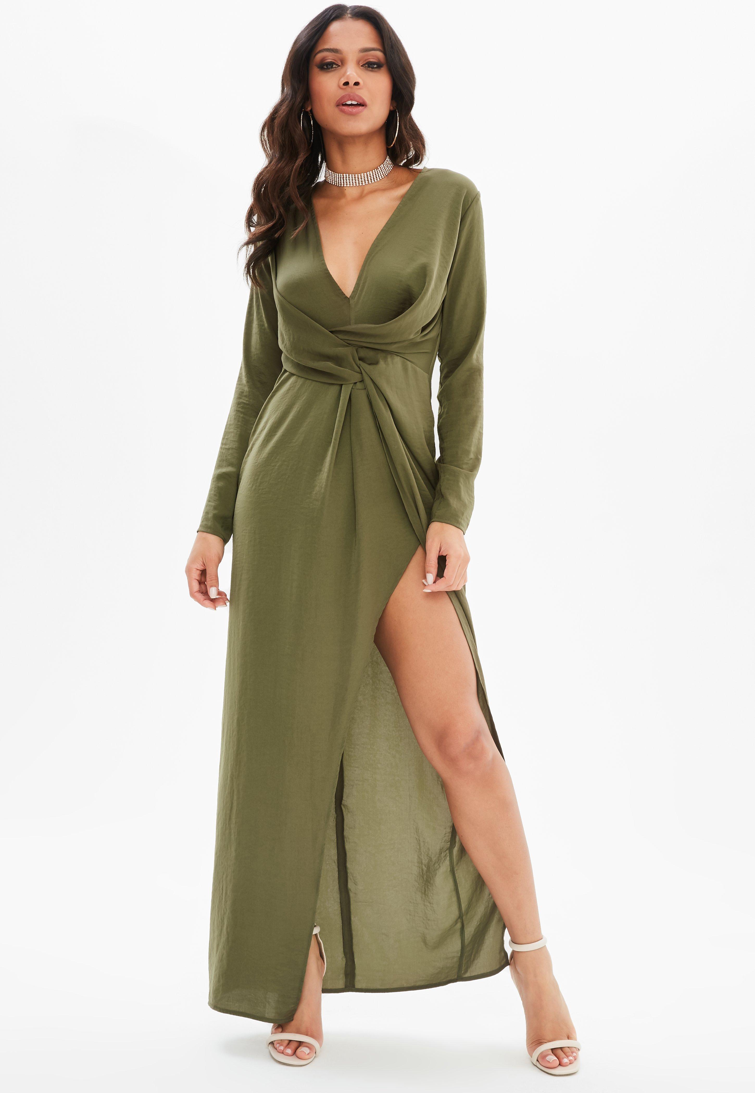 Elegant Green Long Sleeve Maxi Dresses