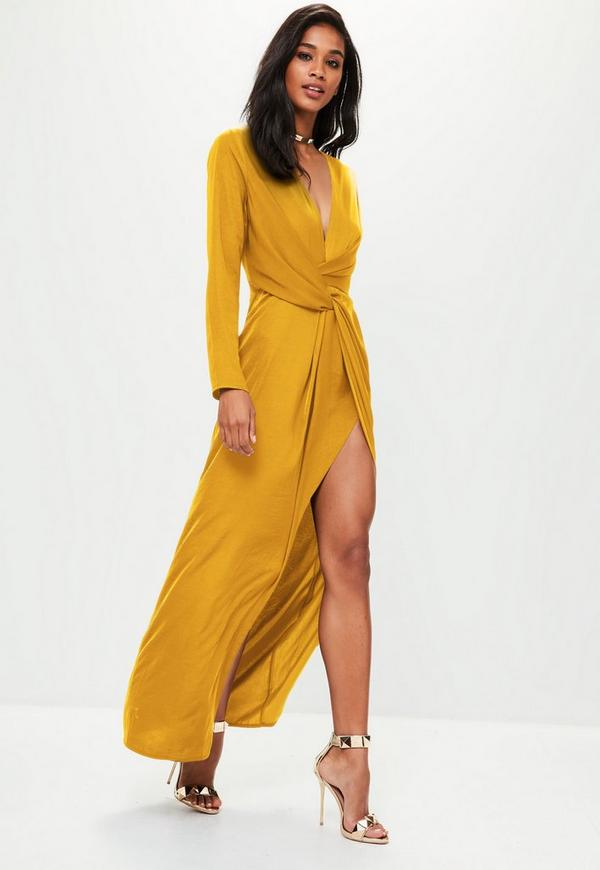 Mustard Yellow Wrap Front Maxi Dress Missguided