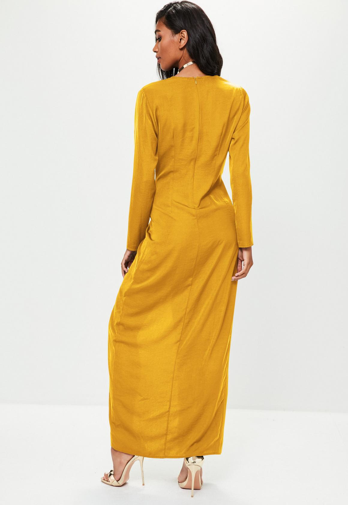 da0bf1c353ba Missguided - Mustard Yellow Wrap Front Maxi Dress