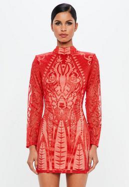 Peace + Love Czerwona sukienka z zabudowanym dekoltem