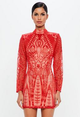 Peace + Love Red Lace High Neck Bodycon Dress