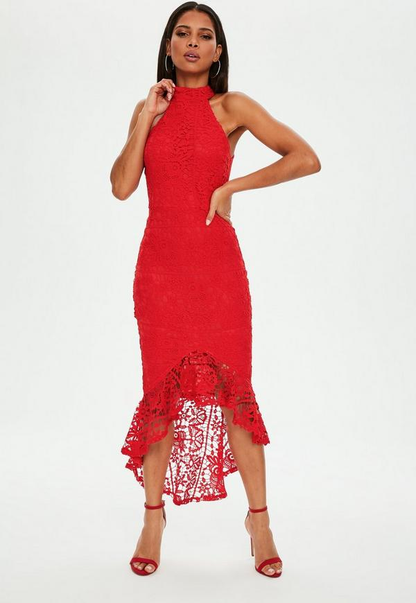 Red Lace High Neck Fishtail Midi Dress by Missguided