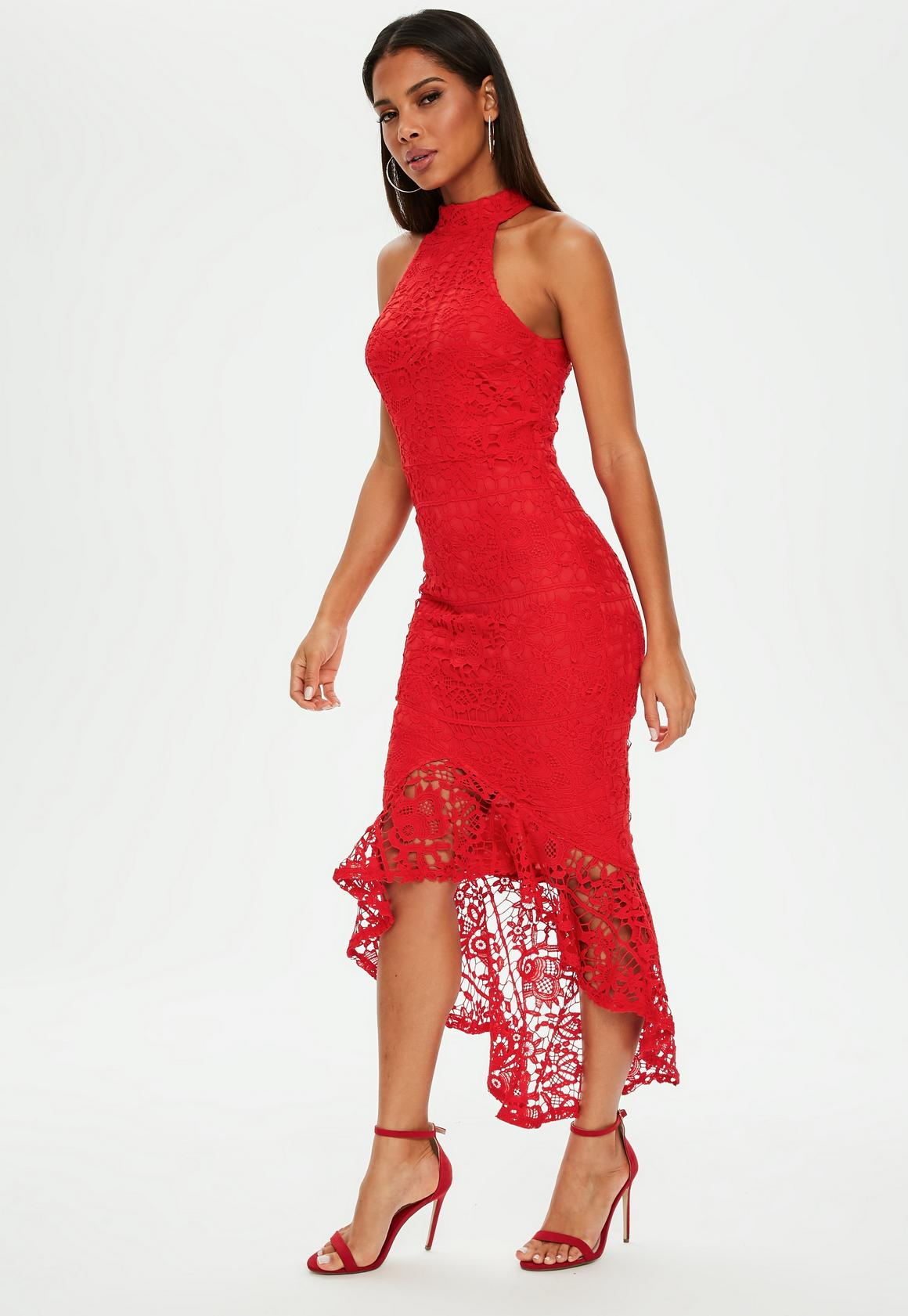c5cbcc372bbf Missguided Red Lace High Neck Fishtail Midi Dress, Red at £50 | love ...
