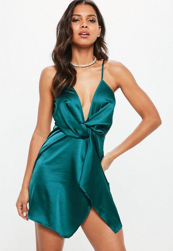9bcfcd3a35 Teal Satin Strappy Wrap Shift Dress