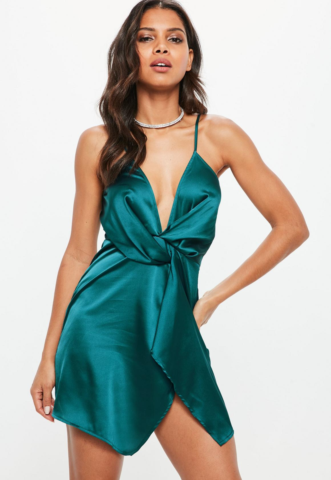 Teal Satin Strappy Wrap Shift Dress   Missguided