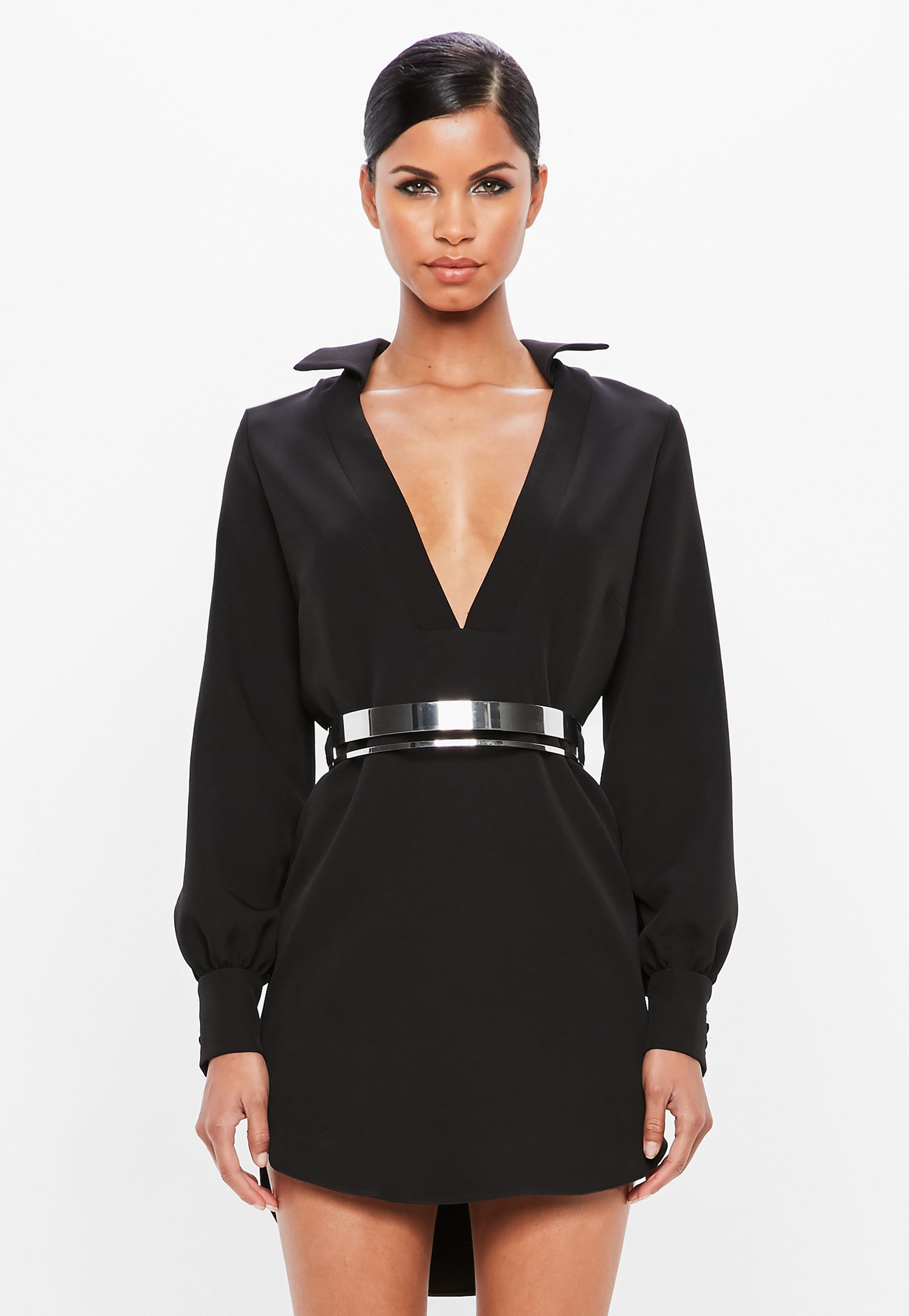 V Black Loose Front Collar PeaceLove Fit Dress gb7fyvY6