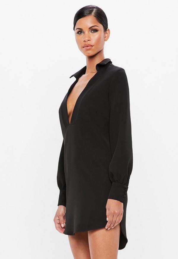 cbb40ce9ae53 ... Black V Front Collar Loose Fit Dress. Previous Next