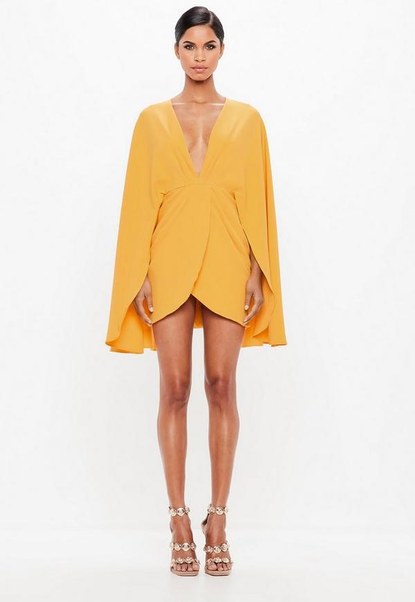 ... Peace + Love Orange Plunge Cape Mini Dress. Previous Next 28f7d2c69
