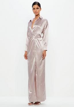 Peace + Love Różowa satynowa sukienka maxi