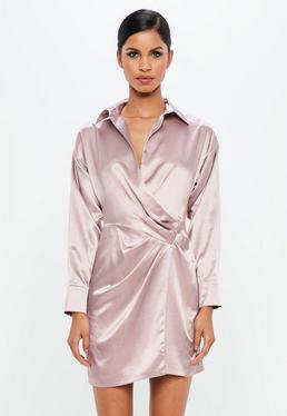 Peace + Love Mauve Satin Wrap Mini Dress