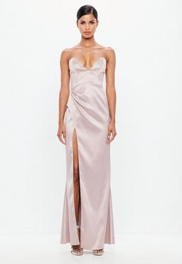52995e312c458 Peace + Love Black Satin Wrap Maxi Dress; Peace + Love Mauve Bonded Satin  Maxi Dress