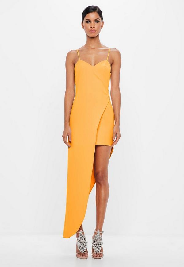 Peace Love Yellow Asymmetric Hem Wrap Dress Missguided