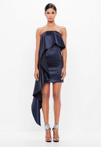 Peace Love Navy Bonded Ruffle Satin Dress Missguided