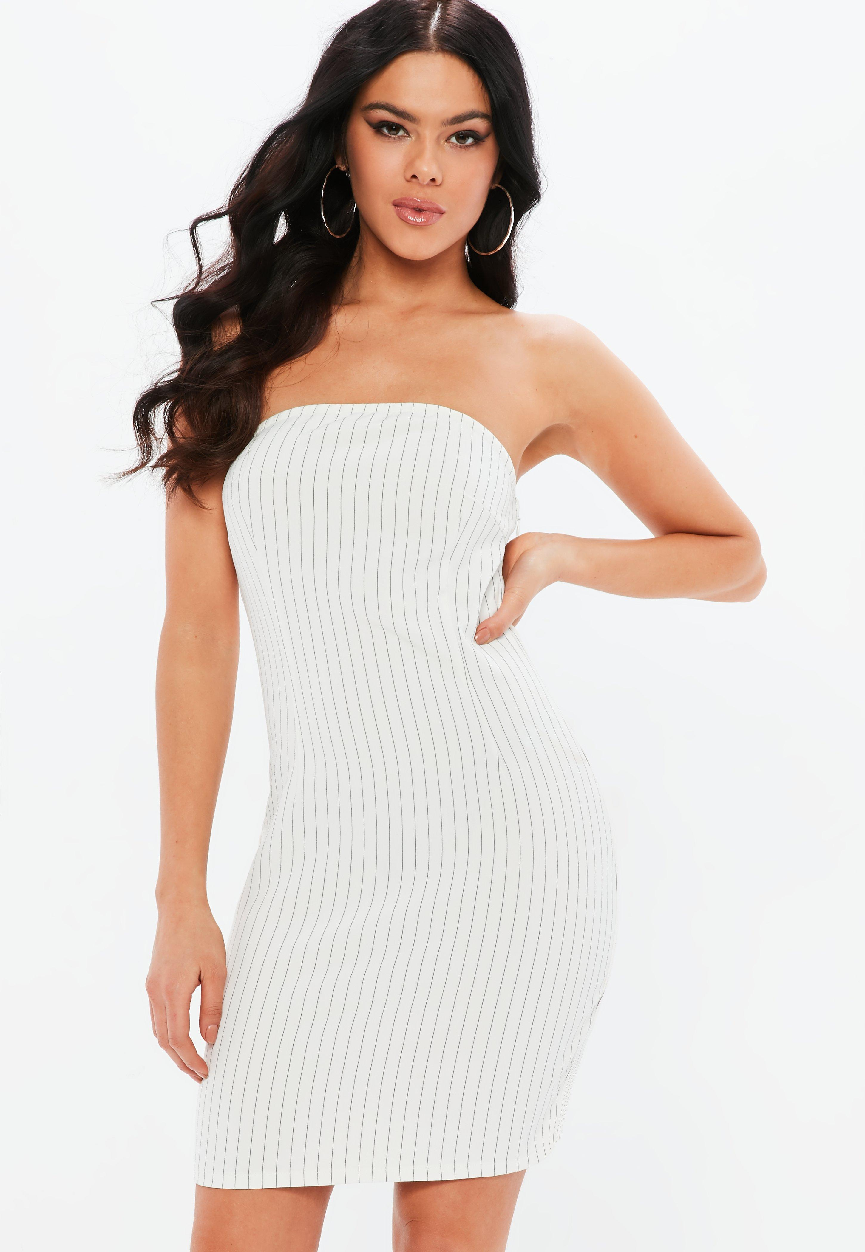 Madison Beer x Missguided White Pinstripe Mini Bandeau Bodycon Dress ...
