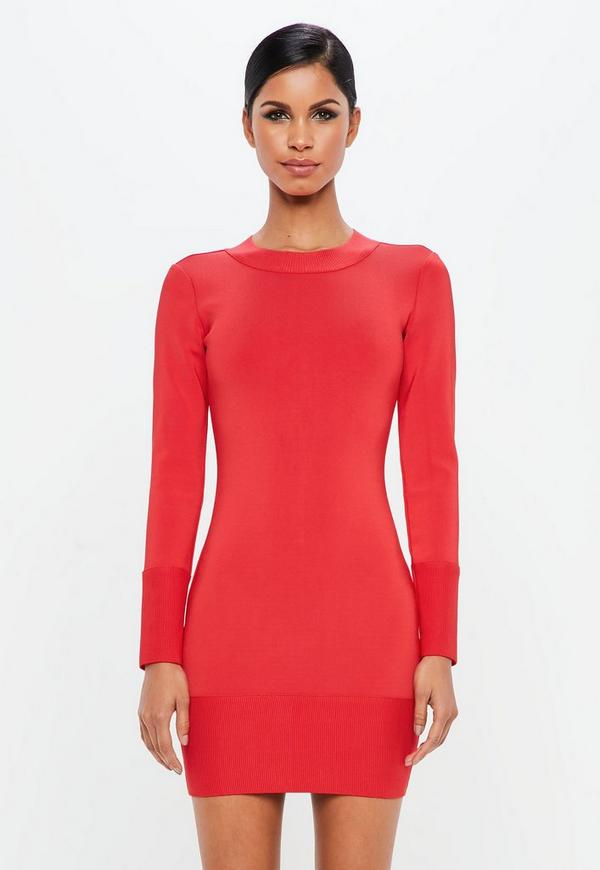 Peace + Love Red Ribbed Hem Cuff  Bandage Bodycon Dress by Missguided