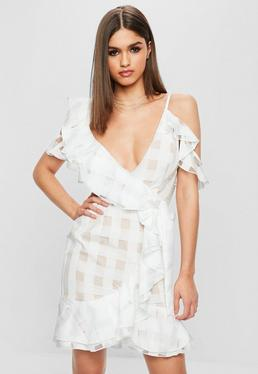White Asymmetric Nude Underlay Frill Shift Dress