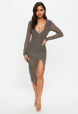 Black Plunge Insert Mesh Stripe Midi Dress