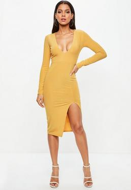 Mustard Plunge Thigh Split Metallic Midi Dress