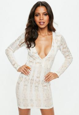 White Plunge Snake Print Bodycon Mini Dress