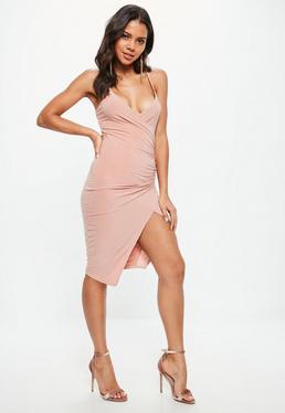 Pink Cami Ruched Split Side Midi Dress