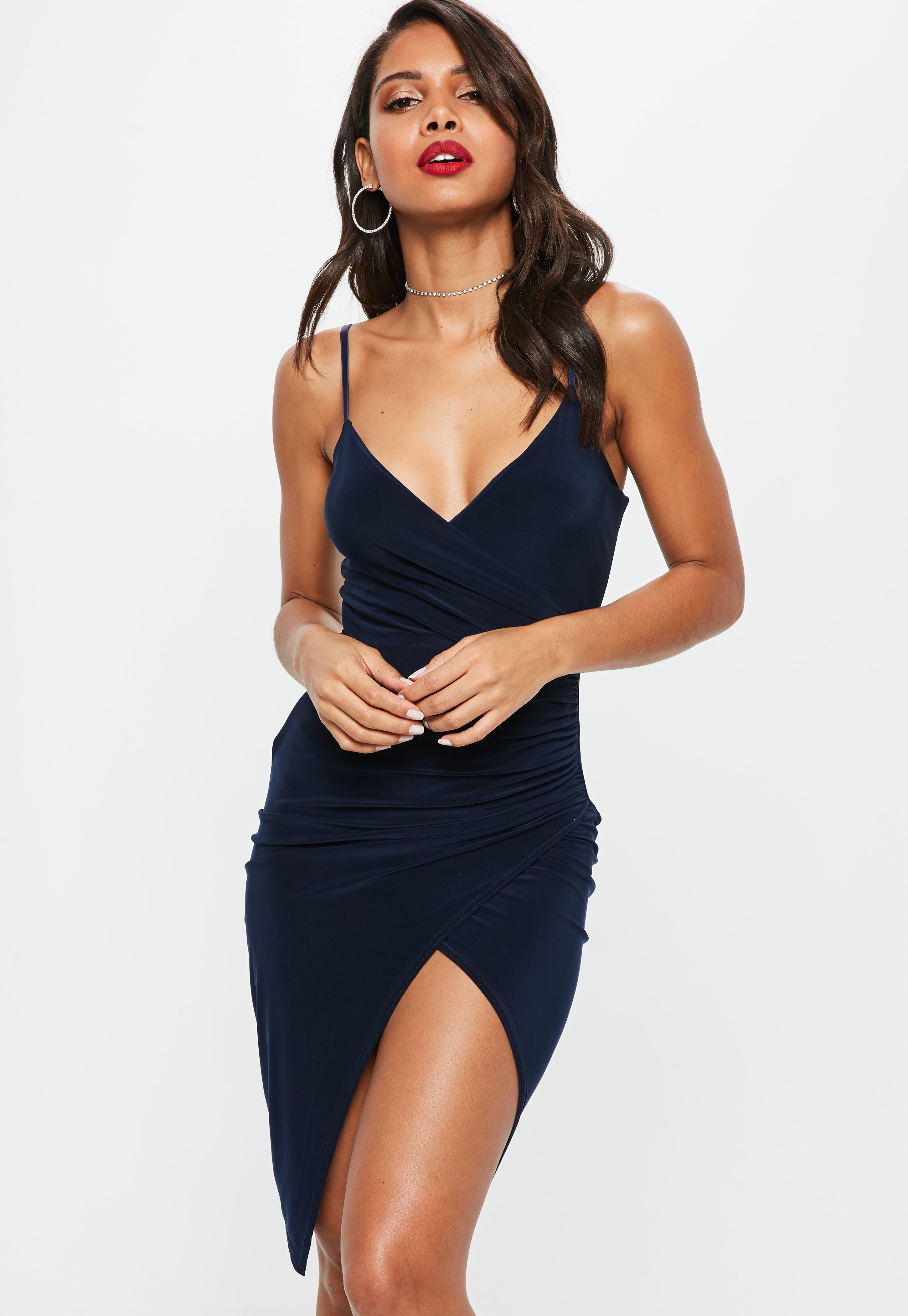 Navy Cami Ruched Split Side Midi Dress