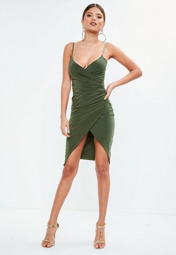 50f8fe6c34c5 Khaki Strappy Slinky Wrap Bodycon Midi Dress