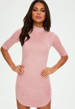 Pink High Neck Bonded Faux Suede Dress