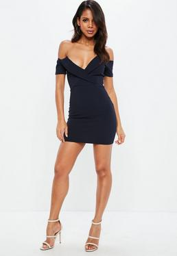 Navy Fold Over Bardot Bodycon Dress