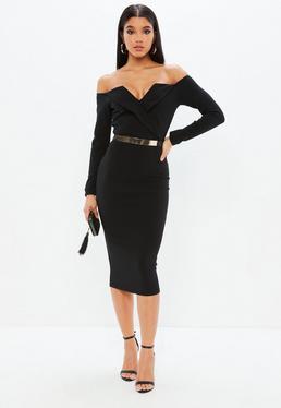Black Bardot Foldover Wrap Midi Dress