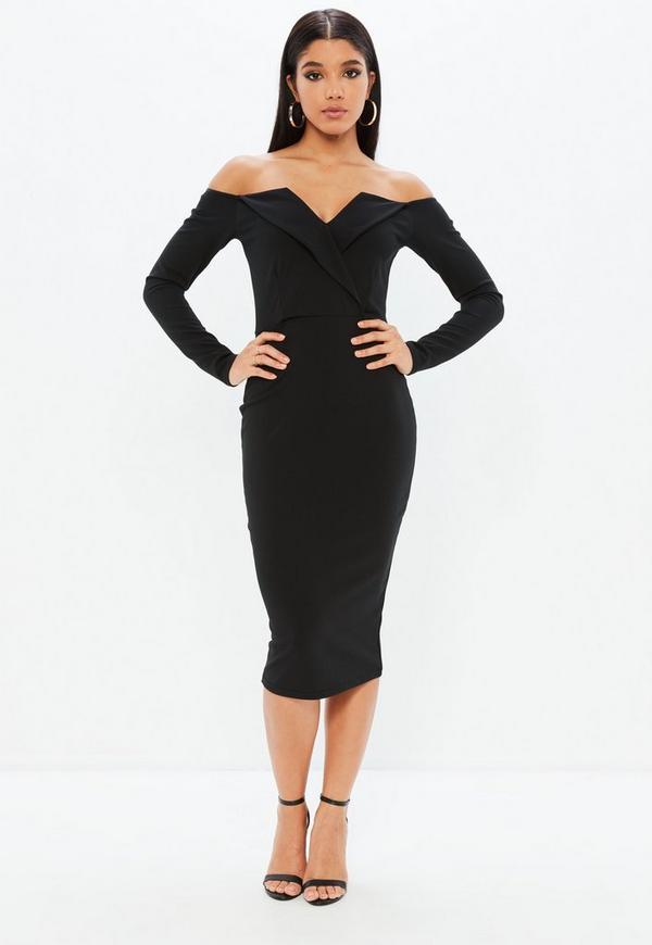 Black Bardot Foldover Wrap Midi Dress Missguided Ireland