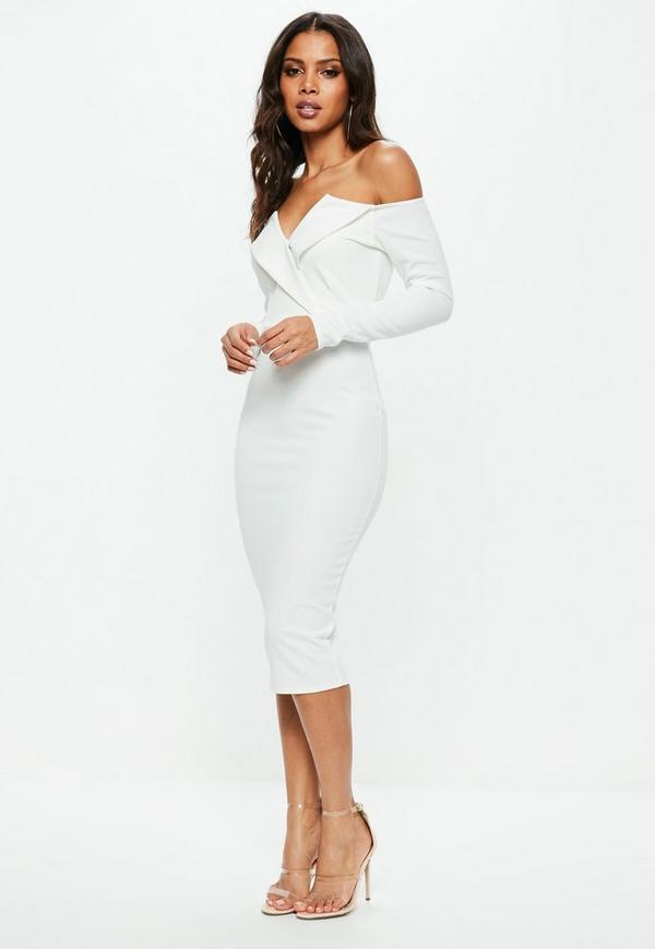 White Bardot Foldover Wrap Midi Dress Missguided