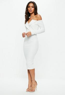 White Bardot Foldover Wrap Midi Dress