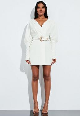 3f19dab996df Peace + Love Black Satin Wrap Front Drape Mini Dress · Peace + Love White  Plunge Western Belted Shirt Dress